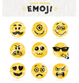 Hand drawn set of emoticons set of emoji vector image vector image