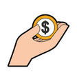 hand human with coin money dollar icon vector image vector image