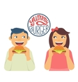 Happy boy and girl are eating a big hamburgers vector image vector image