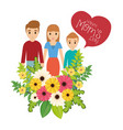 happy moms day family flowers celebration vector image vector image