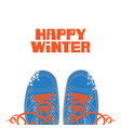 happy winter banner with shoes on white background vector image vector image