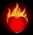 Heart in fire flames icon on black