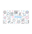 i love steam outline horizontal banner or vector image vector image