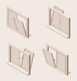 isometric outline set open windows vector image