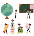 kid boy schoolboy doing school acitivities vector image