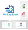 medicine shop logo designs vector image vector image