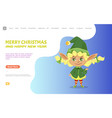 merry christmas and happy new year waving elf vector image vector image