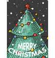 merry christmas banner green trees with garlands vector image vector image