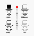 moustache hipster movember hat men icon in thin vector image