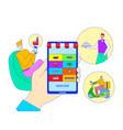 online order takeaway food on mobile application vector image vector image