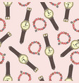 pattern women accessories and ice cream on a vector image vector image
