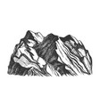 peak of rocky mountain landscape hand drawn vector image vector image