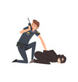 policeman caught criminal police officer arrested vector image vector image