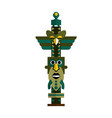 polynesian tribal totem pole isolated on white vector image
