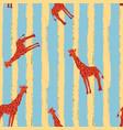red giraffe seamless pattern stripe blue yellow vector image vector image