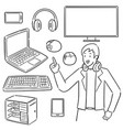set gamer and gaming equipment vector image vector image