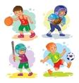 set icons boys playing basketball football vector image vector image