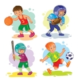 Set icons of boys playing basketball football vector image