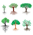 set trees with green leaves vector image
