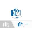 skyscraper and loupe logo combination vector image