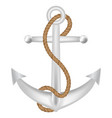 steel anchor with brown rope logo isolated vector image