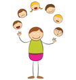 Stick figure juggling heads vector image vector image