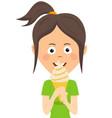 teenager girl eating ice cream vector image vector image
