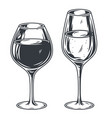 two glasses with white and red wine vector image vector image