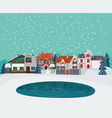 winter countryside landscape flat template vector image