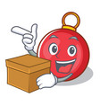 with box christmas ball character cartoon vector image