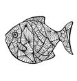 Stylized fish zentangle vector image