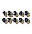 80 s retro numbers rainbow vintage alphabet vector image