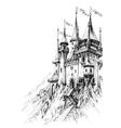 A fairytale castle in mountains vector image vector image
