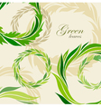 Abstract composition with round frame of green lea vector image vector image