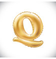 balloon letter q realistic 3d isolated gold vector image vector image
