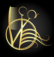 beauty salon and hairdresser symbol vector image vector image