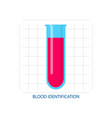 blood identification in chemical or medical test vector image