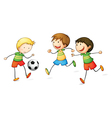boys playing football vector image
