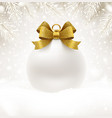 christmas white bauble with glitter gold bow vector image vector image