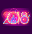 colorful new year line numera colorful neon 2018 vector image vector image