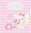 cute pink fox girl hello telephone vector image vector image