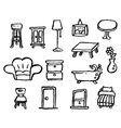 doodle series furniture vector image vector image