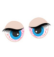 eyes cartoon icon bad emotions angry vector image