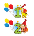 first second birthday with animal vector image vector image