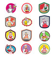 food worker icon cartoon set vector image vector image