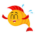 funny happy golden yellow fish character with vector image vector image