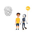 futuristic robots people interaction icons vector image vector image