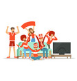 group of friends watching sports on tv and vector image