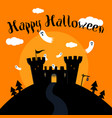 halloween greeting card with hunted castle vector image vector image