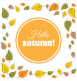 hello autumn text in a wreath of autumn leaves vector image